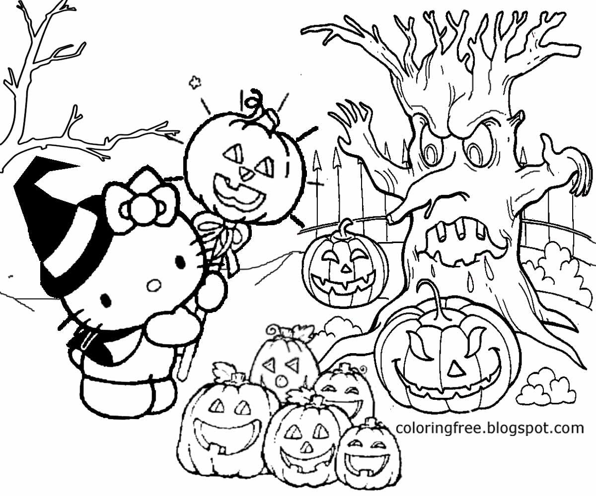 Hello Kitty Halloween Coloring Page 4