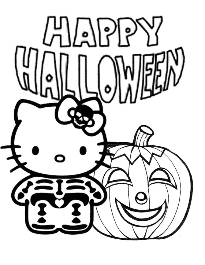 Hello Kitty Halloween Coloring Page 5